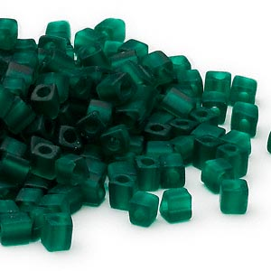 4mm transparent frosted dark green square beads, Miyuki # SB147F, 20 grams, approx 208 beads