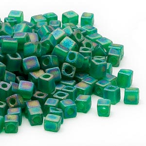 4mm transparent frosted rainbow green square beads, Miyuki # SB146FR, 20 grams