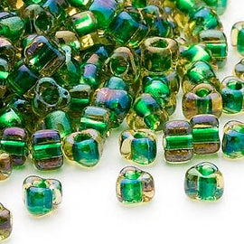 4mm yellow color lined green Miyuki #TR1165 triangle glass beads, 20 grams, approx. 250 beads. Memory wire jewelry, bangles, weaving