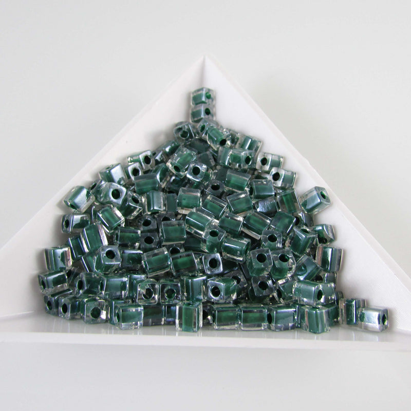 4mm Miyuki # SB217, clear color lined dark green square beads, 20 grams, approx. 208 beads