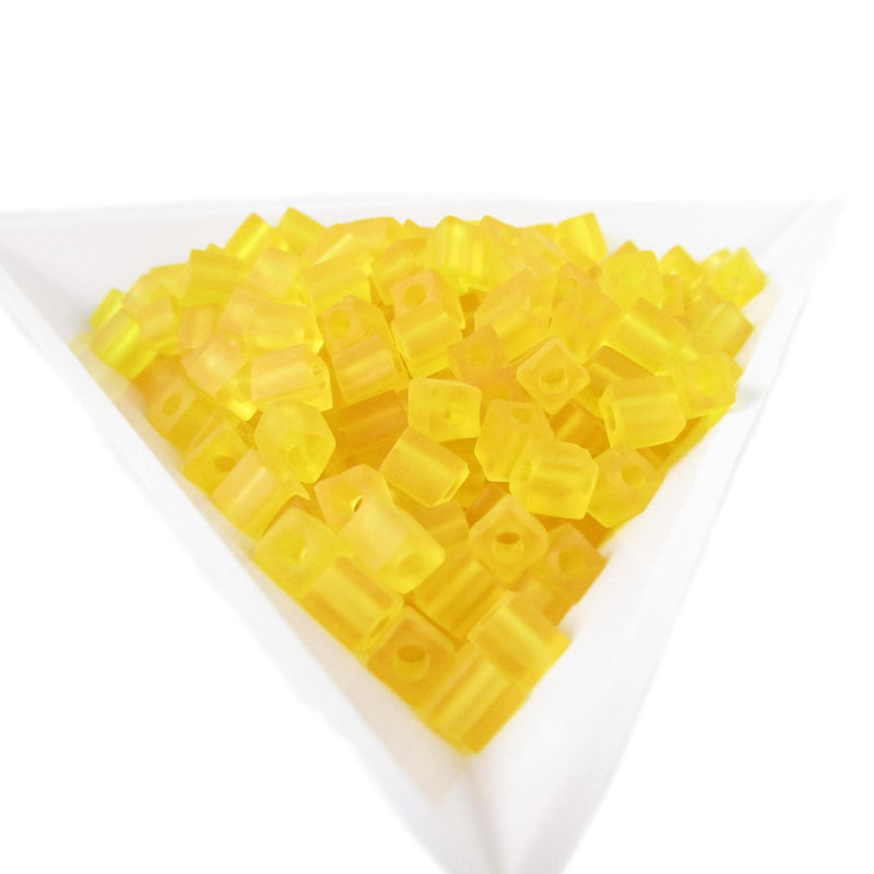 4mm transparent frosted yellow square beads, Miyuki # SB136F, 20 grams, approx 208 beads