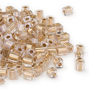 4mm gold color lined clear square beads, Miyuki # SB234, 20 grams, ~208 beads