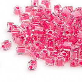4mm clear color lined hot pink square beads, Miyuki # SB208, 20gm, ~208 beads