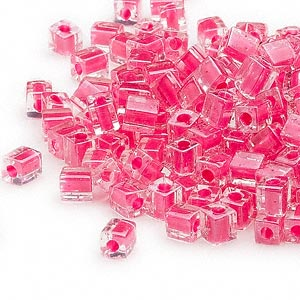 4mm clear color lined hot pink square beads, Miyuki # SB208, 20 grams, approx 208 beads