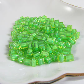 4mm Miyuki # SB2634,  lime color lined dark green square beads, 20 grams, approx. 208 beads
