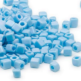 4mm Miyuki # SB413FR,  opaque frosted rainbow light blue square beads, 20 grams
