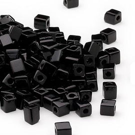 4mm opaque black square beads, Miyuki # SB401, 20 grams, ~208 beads