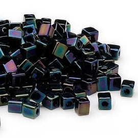 4mm opaque metallic purple square beads, Miyuki # SB452, 20 grams, ~208 beads