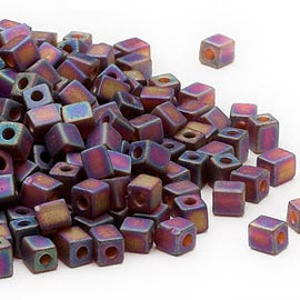 4mm Miyuki #SB134FR,  transparent frosted rainbow dark amber yellow square beads, 20 grams