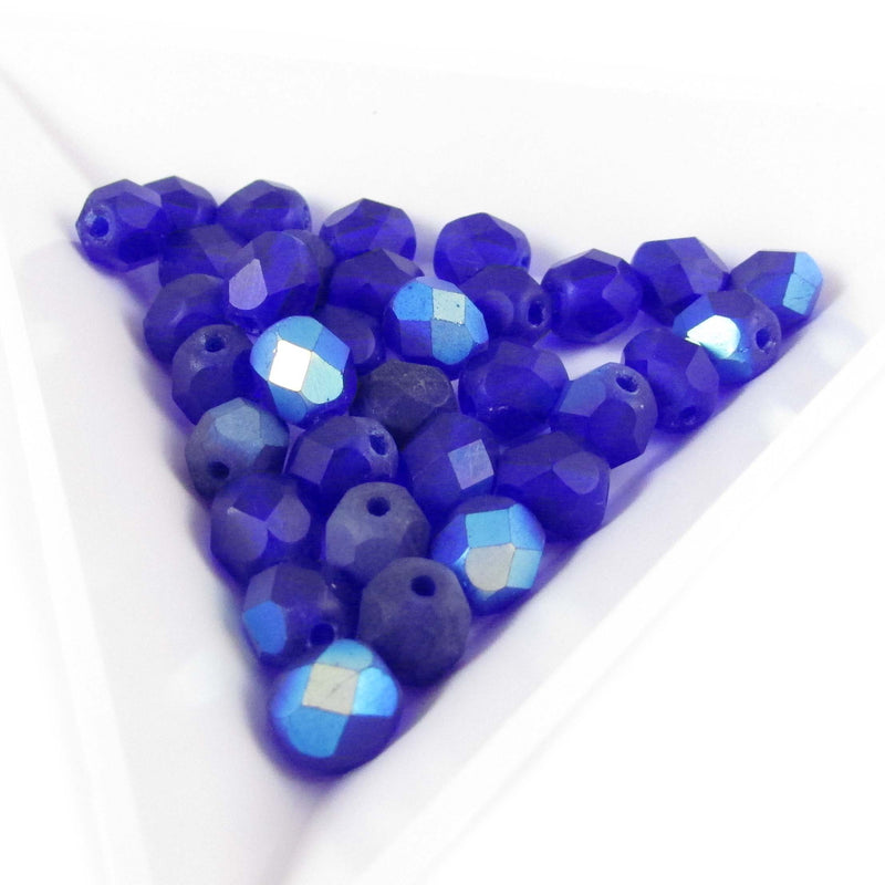 "6mm faceted round, AB matte dark blue Czech fire-polished glass beads, 8"" strand (33 beads)"