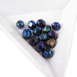 6mm iris blue faceted round Czech fire polished glass beads, 8