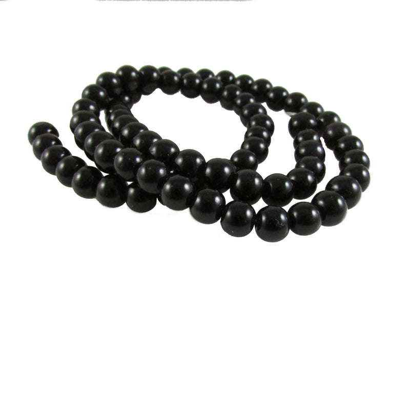 "6mm black, round, glass beads, 15""- 16"" strand , approx 65- 70 beads"