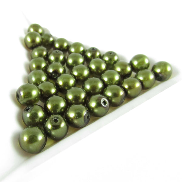 "6mm dark green pearl-coated Czech glass druk 8"" strand (33 beads)"