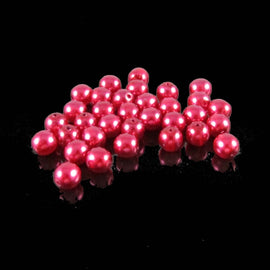 "6mm luster red pearl-coated Czech glass druk pearls 8"" strand (33 beads)"