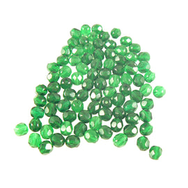 6mm faceted round transparent emerald green Czech fire polished glass beads, 8