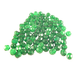 "6mm faceted round transparent emerald green Czech fire polished glass beads, 8"" strand (approx. 33 beads)"
