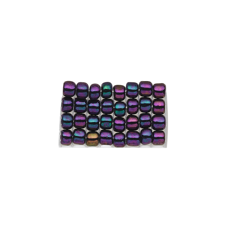 Size 8/0 opaque iris peacock purple Matsuno glass seed beads, 100 grams, approx. 3,000 beads