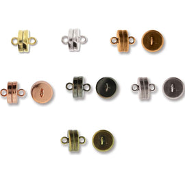 New finishes! 9 x 8 mm SUPER STRONG gold or silver plated, black oxide, antique brass, silver or copper magnetic clasps