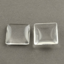 25mm x 25mm x 5- 6mm thick clear glass, square cabochons, 25 pcs.