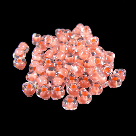 4mm clear color lined salmon triangle glass beads, Miyuki # TR1122, 20 grams, approx. 250 beads