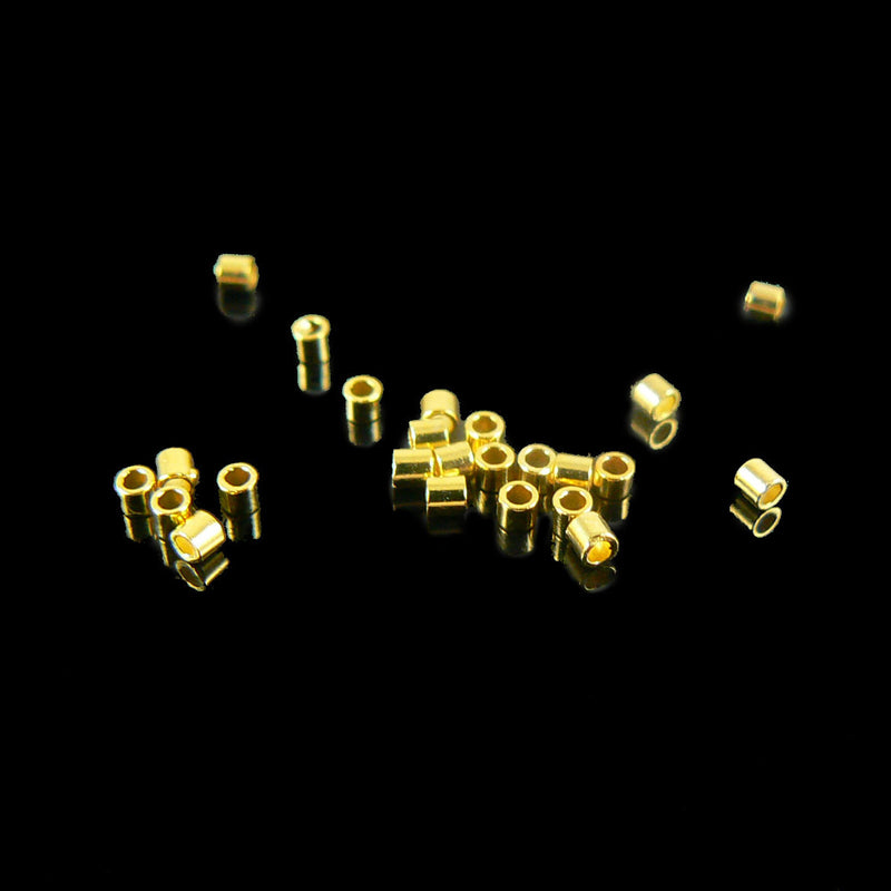 1.3mm outside diameter gold plated crimp tubes, 1 gram (~ 140 pcs)