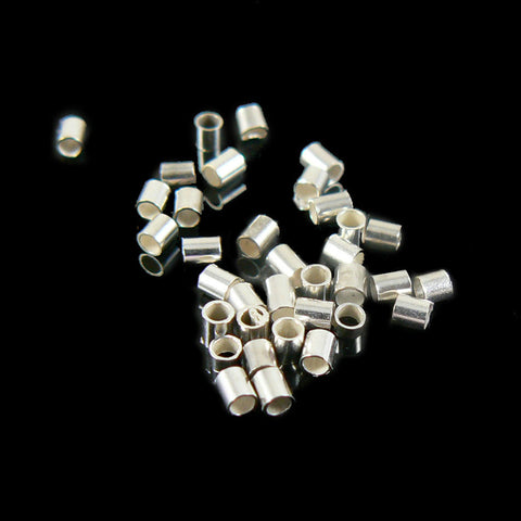 1.3mm outside diameter silver plated crimp tubes, 10 grams (~ 1400 pcs)