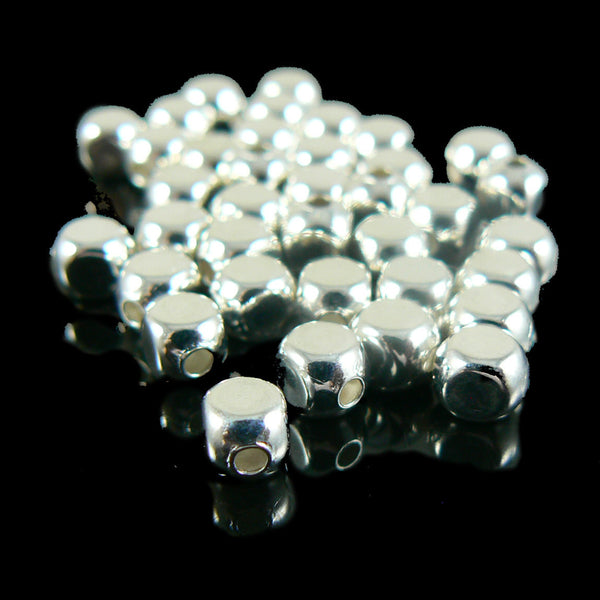 5mm silver plated, rounded cube beads, 72 pieces