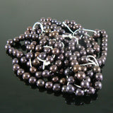 6mm luster eggplant purple glass pearls, 8 inch strand
