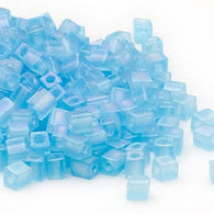 4mm transparent frosted rainbow light blue square beads, Miyuki # SB148FR, 20 grams, approx. 208 beads. Baby blue, rainbow, tropical, Easter