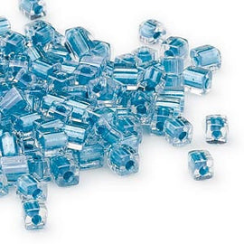 4mm clear color lined metalic light blue square beads, Miyuki # SB2606, 20 grams, approx. 208 beads