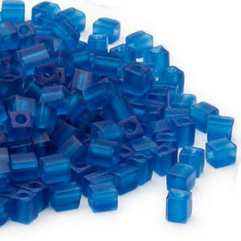 4mm transparent frosted dark blue square beads, Miyuki # SB149F, 20 grams, approx 208 beads