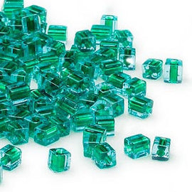 4mm blue color lined green square beads, Miyuki # SB2643, 20 grams, approx. 208 beads