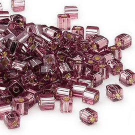 4mm silver lined pink square beads, Miyuki # SB12, 20 grams, approx 208 beads