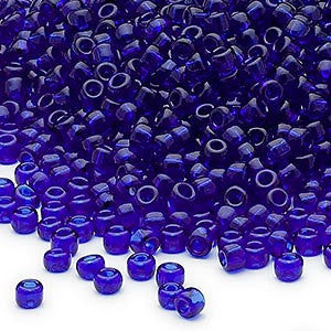 Size 8/0 transparent cobalt blue Dyna-Mites glass seed beads, 20 grams, approximately 600 beads