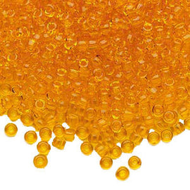 Size 8/0 transparent orange Dyna-Mites glass seed beads, 20 grams, approx. 600 beads