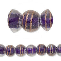10mm- 12mm color lined dark blue transparent clear glass round beads with gold stripes, 12 pcs.