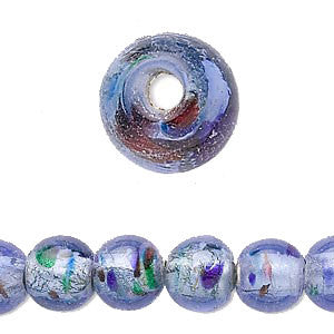 11mm- 12mm foil lined transparent blue glass round beads with confetti dots, 12 pcs.