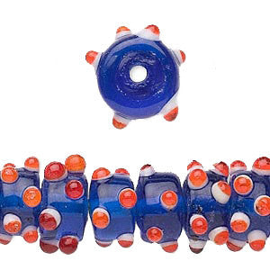 12-16mm x 7mm blue lampwork glass drum beads w/ red and white bumps