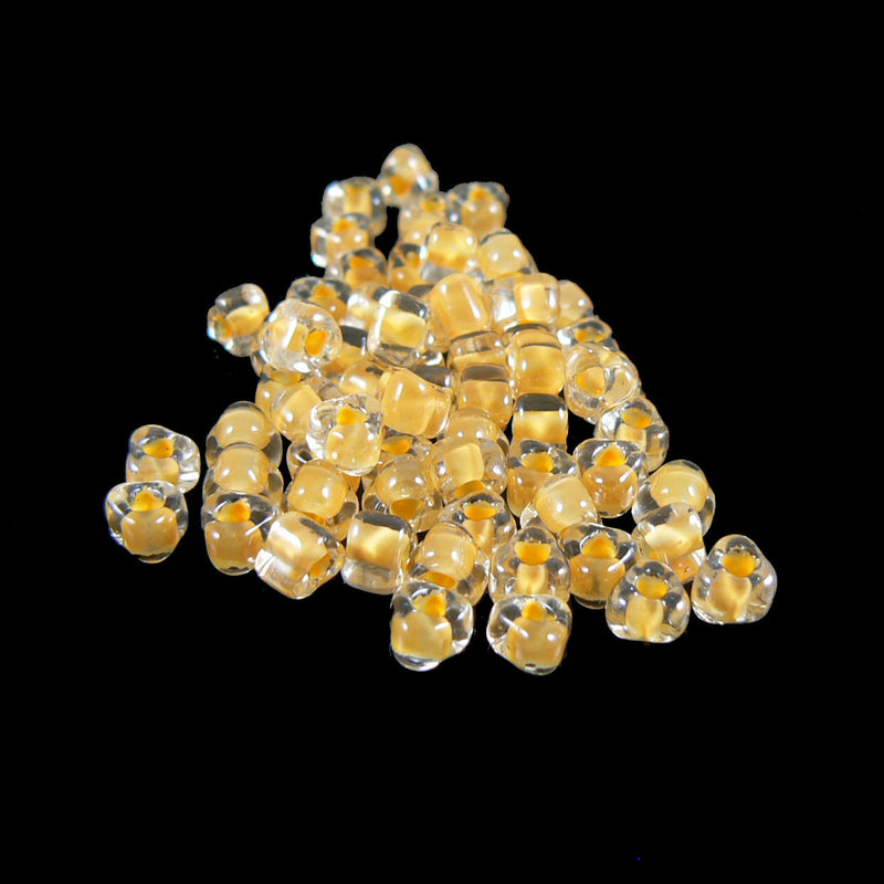 4mm clear color lined yellow triangle glass beads, Miyuki # TR1121, 20 grams