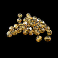 6mm tortoise gold faceted round Czech fire polished glass beads, 8 in strand (32- 33 beads)