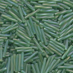 12mm frosted AB true green twisted glass bugle beads, Miyuki #179F, 25 grams, approx. 420 beads