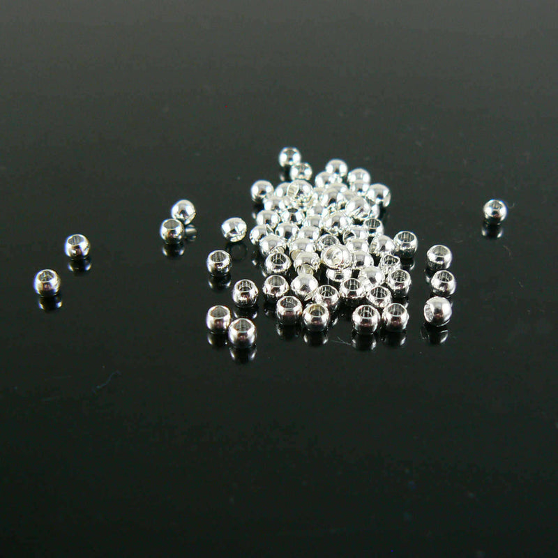 1.5mm inside diameter silver plated, smooth crimp beads, 1000 pcs