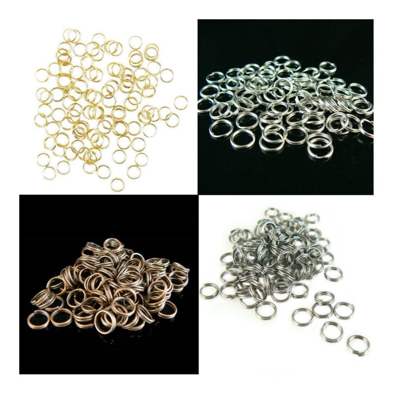 6mm gold or nickel plated, antiqued copper, or black oxide split ring/ key rings, 100 pcs