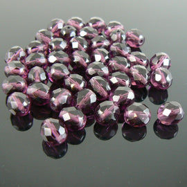 8mm faceted round amethyst purple, Czech fire polished glass beads, 7