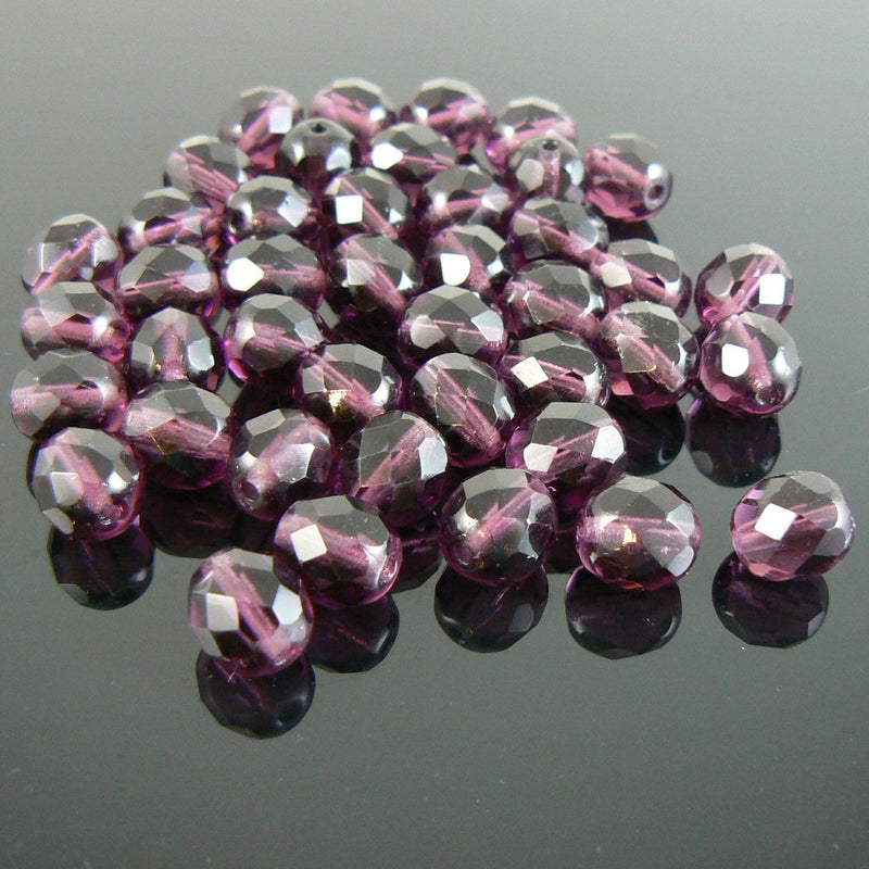 "8mm faceted round amethyst purple, Czech fire polished glass beads, 7"" strand (approx. 22 beads)"