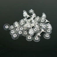 11.5 x 6mm silver plated comfort ear clutch/ earring backs, 100 pcs (50 pair)