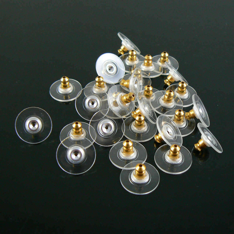 11.5mm x 6mm gold plated comfort ear clutch/ earring backs, 100 pcs (50 pair)