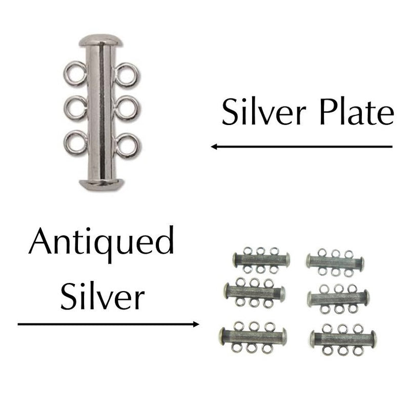 21 x 12 mm silver plated or antiqued silver three strand clasps, 6 clasps