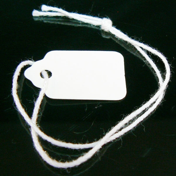 Size 1 white scallop top string tags/ merchandise price tags, 100 pcs