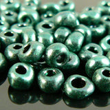Size 8/0 metallic finish opaque green seed beads, 20 grams, approximately 1,000 beads. St. Patrick's Day, Christmas, school color, Army